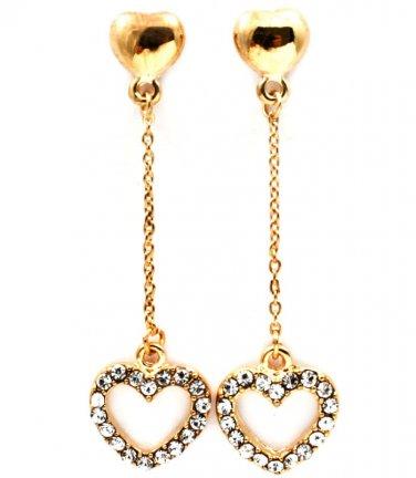 Clear Crystal Heart Linear Drop Earrings