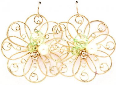 Daisy Filigree Lime Crystal Accent Earrings