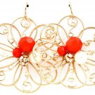 Daisy Filigree Red Crystal Accent Earrings