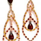 3-tier Teardrop Faceted Crystal Linear Earrings