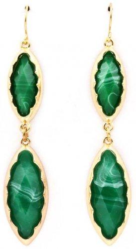 Navette Cut Faceted Jade Formica Linear Drop Earrings