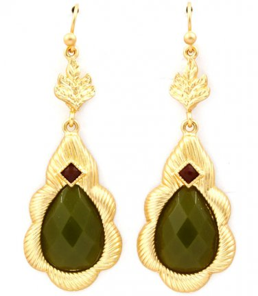 Matte Finish Jade Formica Dangle Drop Earrings