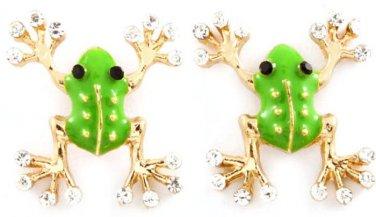 Crystal Frog Stud Earrings