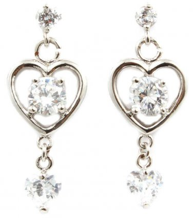 Elegant Glass Heart Stone Linear Drop Earrings