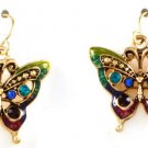 9k Gold Filled Monarch Butterfly Crystal Drop Earrings