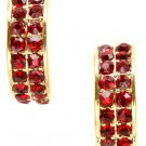 Ruby Red Crystal Half-Hoop Earrings