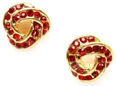 Ruby Red Crystal Knot Earrings