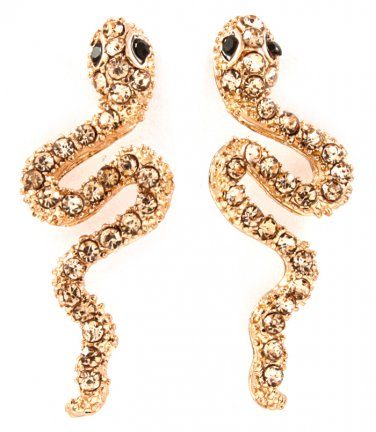 9k Rose Gold Filled Crystal Snake Earrings