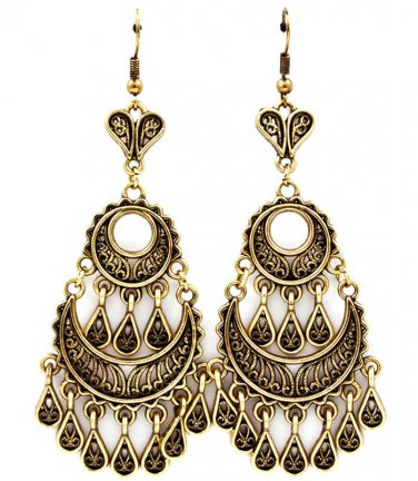 Tear Drop Indian Fringe Earrings