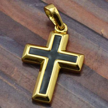 9k Gold Filled Enamel Cross Pendant