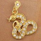 9k Gold Filled Cubic Zirconia Snake Pendant