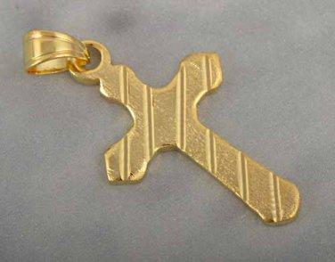 9k Gold Filled Striped Cross Pendant