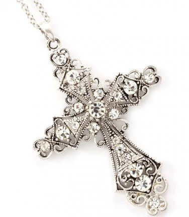 White Crystal Cross Pendant Necklace