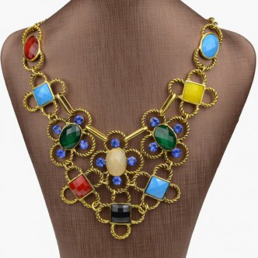Floral Lucite Gem Smoky Gold Plated Necklace Pendant