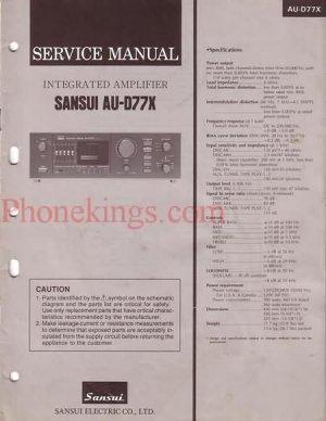 Sansui  AU-D77X  Stereo amplifier  Service  manual