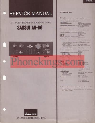 Sansui  AU-D9  amplifier  Service  manual