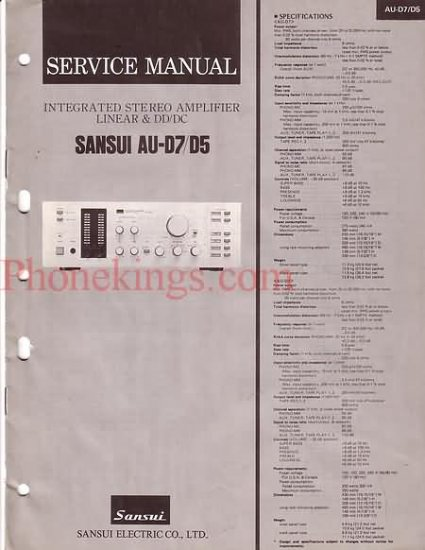 Sansui  AU-D7  AU-D5  Stereo amplifier  Service  manual