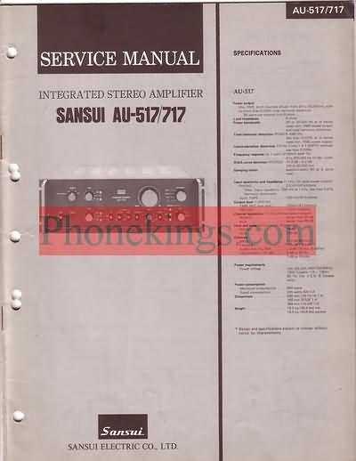 Sansui AU -517  AU-717 Stereo Amplifier Service  manual