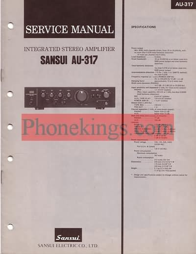 Sansui  AU-317  Stereo amplifier  Service  manual