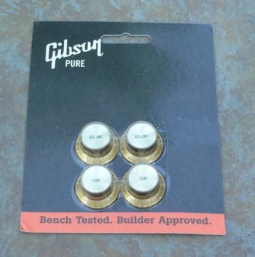Genuine GIBSON Tophat Volume tone knob set  Gold Insert