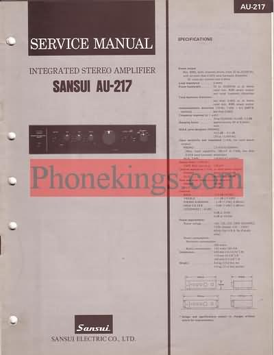 Sansui  AU-217  Stereo amplifier  Service  manual 1