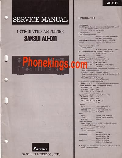 Sansui  AU-D11  Stereo amplifier  Service  manual