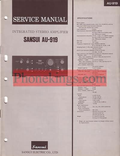 Sansui  AU-919 amplifier  Service  manual