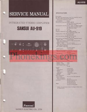 Sansui  AU-919 amplifier  Service  manual