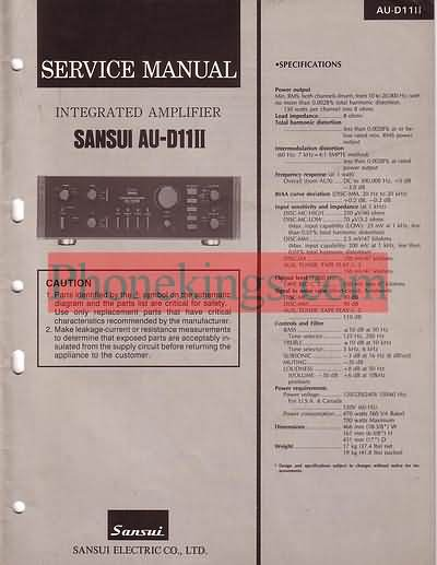 Sansui  AU D11 II  amplifier  Service  manual 1