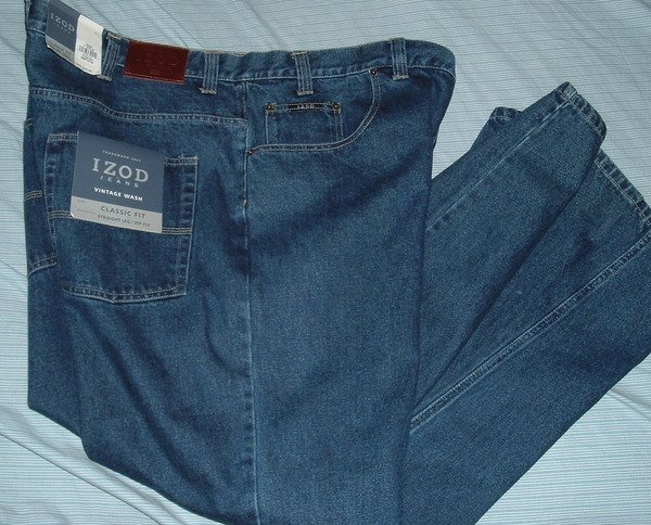 Izod Blue Denim Big Tall Jeans Pants W 46 L 32