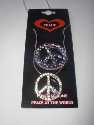 Rhinestone Peace Necklace