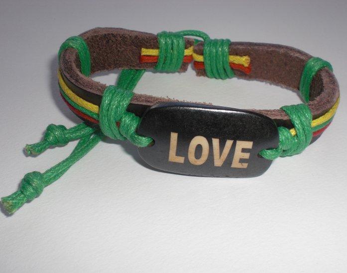 Rastafarian Love Bracelet with Green String