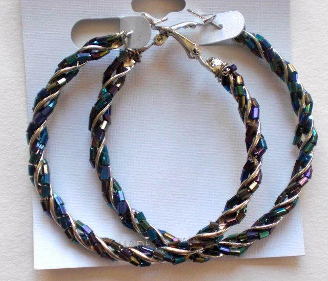 Beaded Hoop Earrings (Dark Rainbow)
