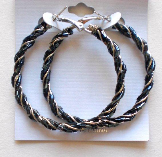Beaded Hoop Earrings (Gray)