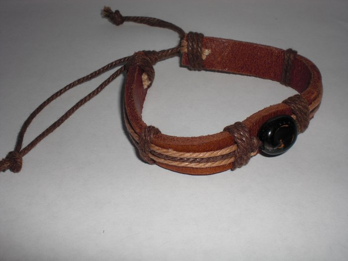 Beautiful Brown Leather bracelet with Black Stone