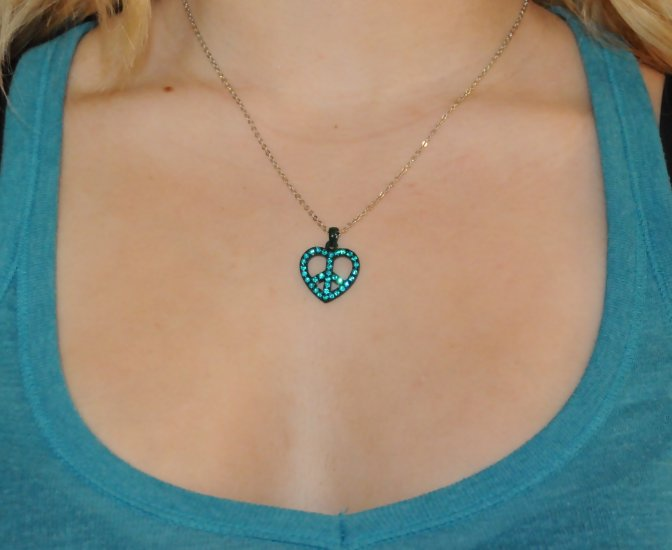 Heart with Peace Sign Rhinestone Necklace
