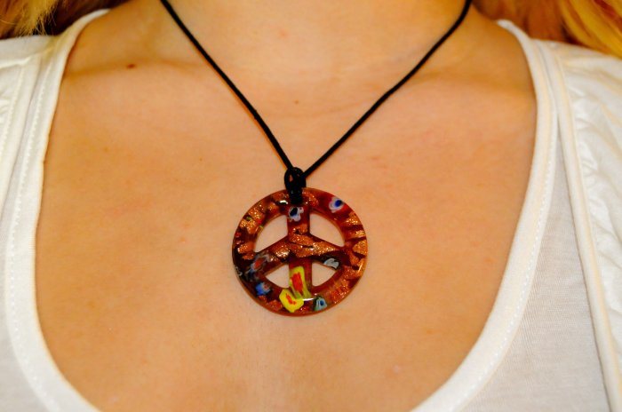 Marble Peace Sign Necklace (Purple)