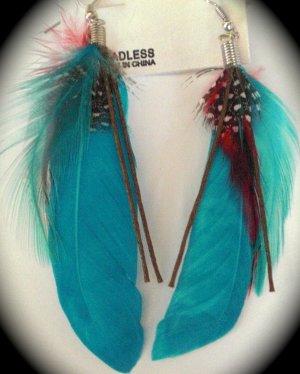 Feather Earrings (Blue)