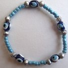 Evil Eye Light Turquoise Beaded Bracelet