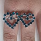 Two Finger Heart Ring (Blue)