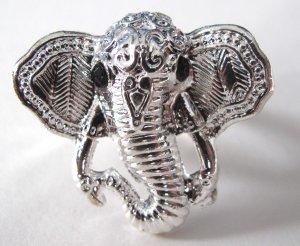 Elephant Head Adjustable Ring (Silver w/ Black)