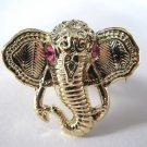 Elephant Head Adjustable Ring (Gold w/ Pink)