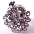 Peacock Rhinestone Ring (Light Purple)