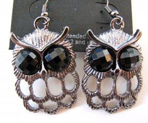 Small Owl Earrings (Dark Silver)