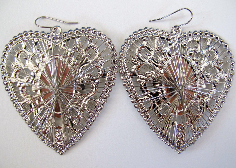 Silver Mirrored Heart Earrings