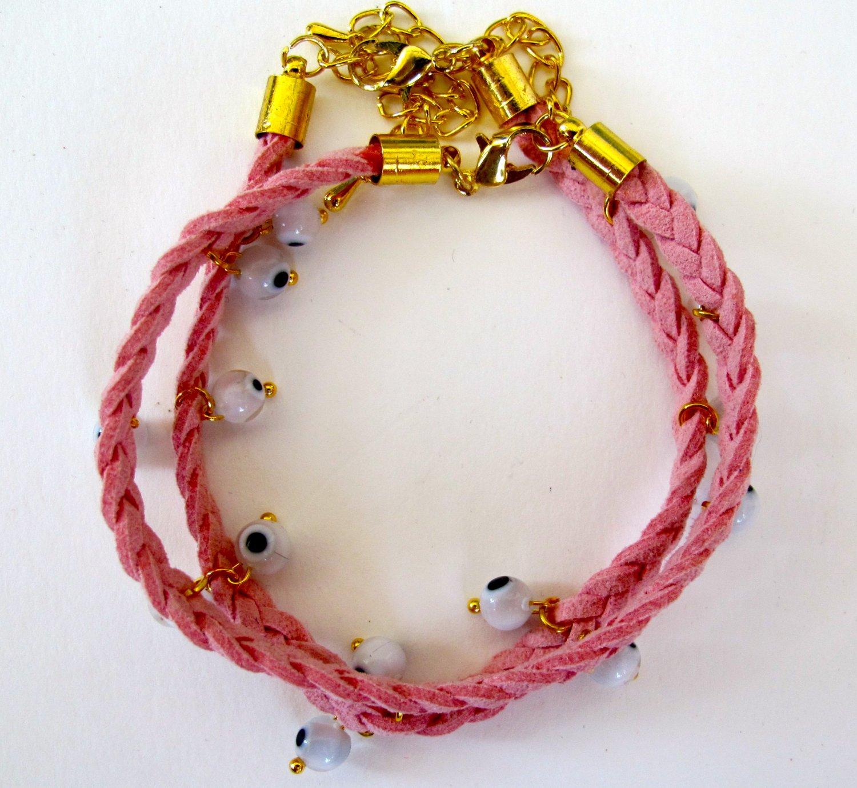 Evil Eye Bracelet (Light Pink)