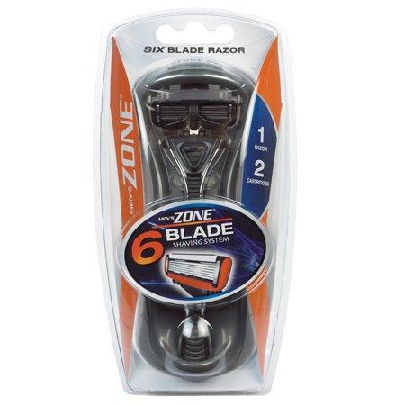 Men's Zone 6 Blade Shaving System, Six Blade Razor + 2 Cartridges