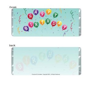 Birthday Balloons Personalized Candy Bar Wrapper BD015-C