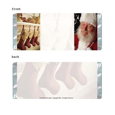 Santa's Stockings Personalized Candy Bar Wrapper Only HD015