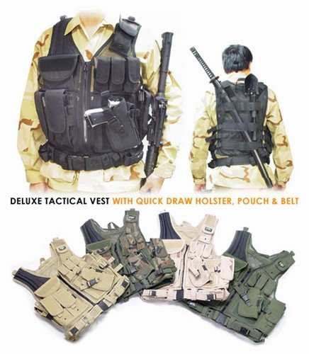 Deluxe Tactical Vest With Quick Draw Holster, Pouch And Belt (black)